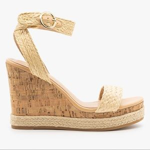 TOP Moda Raffia Cork Wedge Sandals